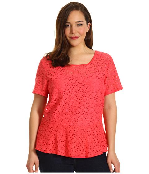 Tricouri DKNY - Plus Size S/S Peplum Top w/ Lightweight Jersey Back - Bright Bloom