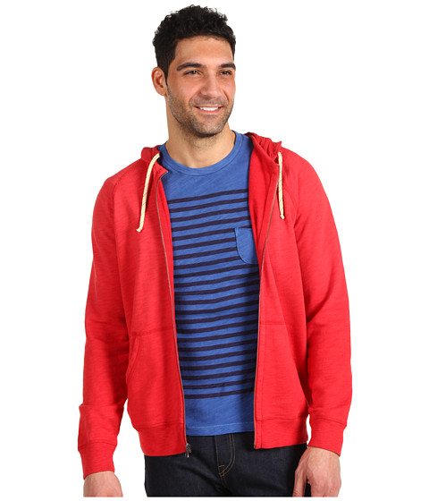 Bluze Lucky Brand - Washed Down Zip Hooded Sweater - Pompian red