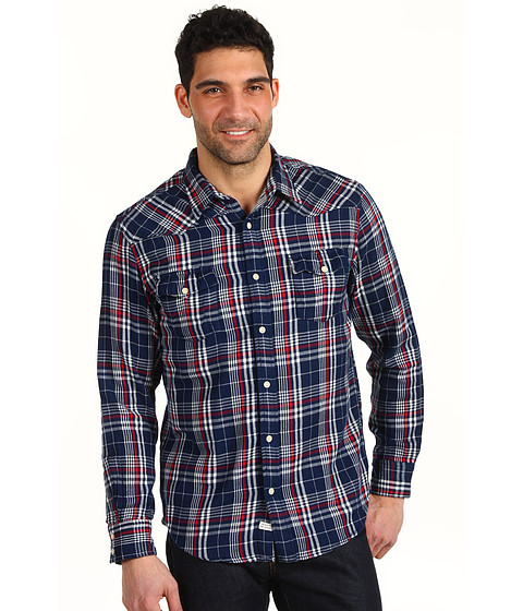 Bluze Lucky Brand - Rivington Plaid Western Shirt - Blue Plaid