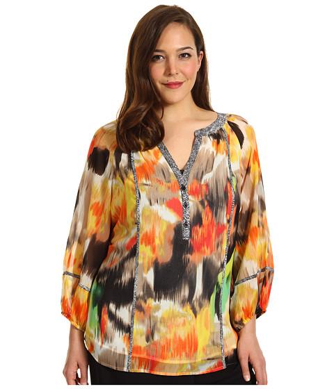 Tricouri Calvin Klein - Plus Size Peasant Blouse - Key Lime/Bellini Multi