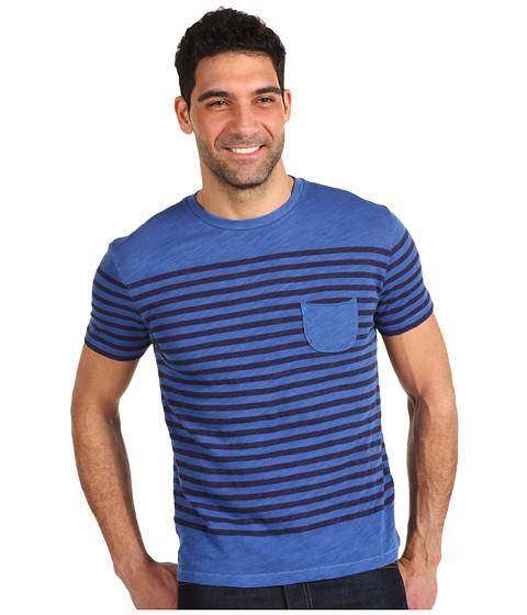 Tricouri Lucky Brand - Striped Pocket Tee - Overdye Limoges Blue