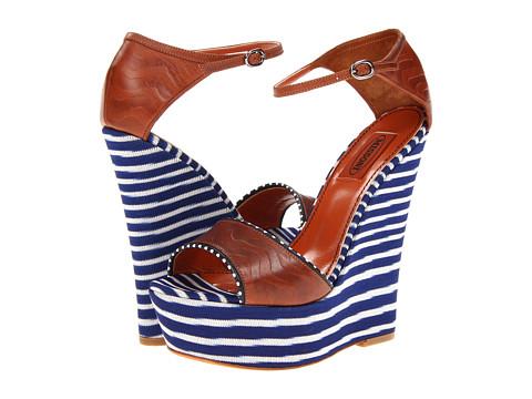 Pantofi Missoni - Leather/Fabric Combo High Wedge - Blue