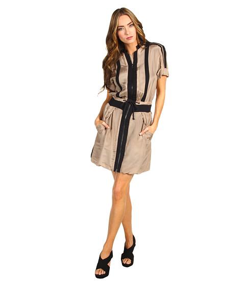 Rochii Chloe - Drawstring Faux Collar Dress - Brown
