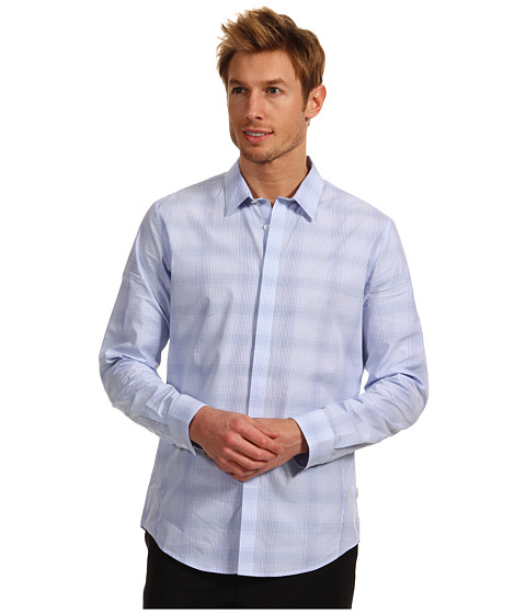 Tricouri Calvin Klein - Slim Fit L/S Yarn Dye Ombre Plaid Poplin Woven Shirt - Dellarobbia Blue