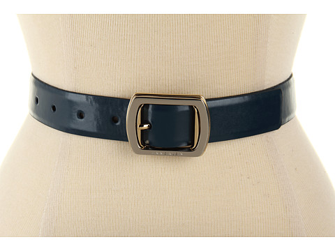 """Curele Anne Klein New York - 1 3/16\"""" Feathered Edge Panel On Two Tone Buckle - Navy"""