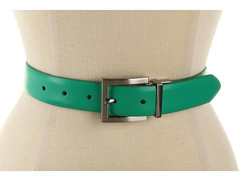 "Curele Calvin Klein - Calvin Klein 1 1/8\"" Reversible Belt w/ Nickel Buckle - Green"