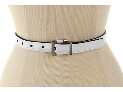 "Curele Calvin Klein - Calvin Klein 3/4\"" Buckle On Reverse Patent Panel - White"