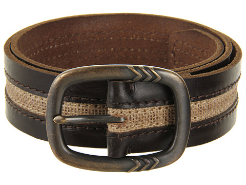 Curele John Varvatos - 39mm Centerbar Buckle on a Strap with Canvas Inlay - Brown