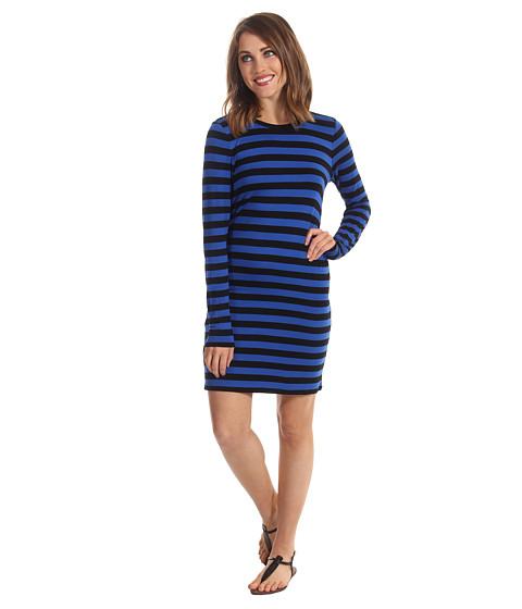 Rochii Michael Kors - Carnaby Stripe L/S Crew Dress - Urban Blue/Black