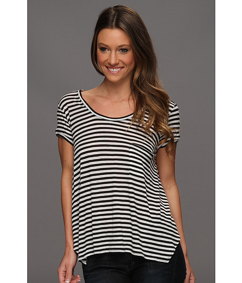 Bluze BCBGMAXAZRIA - Kelsey Short Sleeve Pocket Top - Black/White