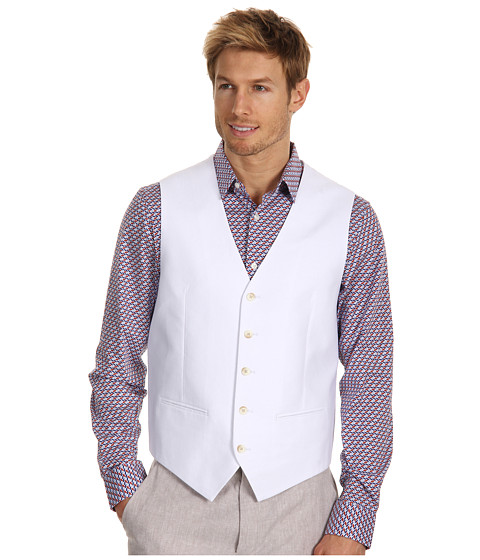 Jachete Perry Ellis - Linen Cotton Suit Vest - Bright White