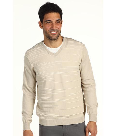 Pulovere Perry Ellis - L/S Cotton Pleated Stripe V-Neck - Sandbar