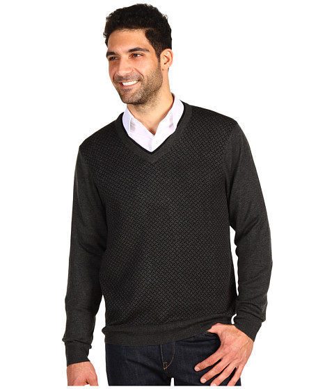 Pulovere Perry Ellis - L/S Merino Blend V-Neck Double Sweater - Charcoal Heather