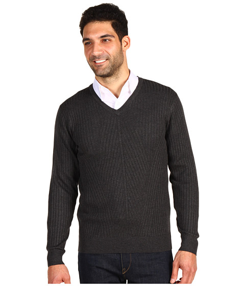 Pulovere Perry Ellis - L/S V-Neck Ribbed Sweater - Charcoal Heather