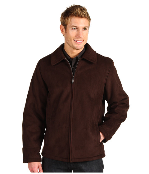 Geci Perry Ellis - Faux Shearling Zip Front Coat - Dark Brown