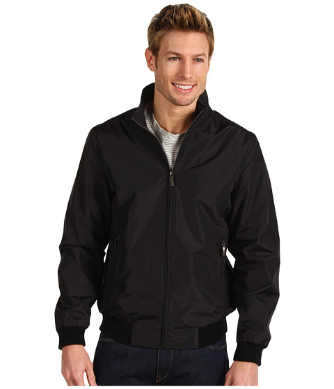Geci Perry Ellis - Polyester Ribbed Knit Trim Jacket - Black