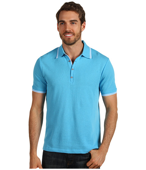 Tricouri Perry Ellis - Mesh Knit Polo - Azzuro