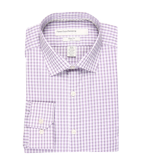 Camasi Perry Ellis - City Fit Triple Windowpane Dress Shirt - Purple Heart
