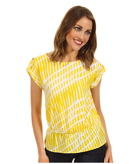Tricouri Michael Kors - Petite Aki Stripe Boatneck Top - Citrus