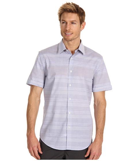 Camasi Perry Ellis - Horizontal Engineered Stripe Shirt - Coastal Blue
