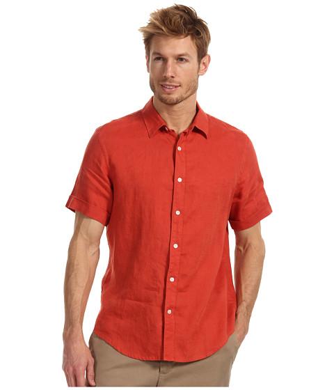 Camasi Perry Ellis - Regular Fit Linen Solid S/S Shirt - Bright Coral
