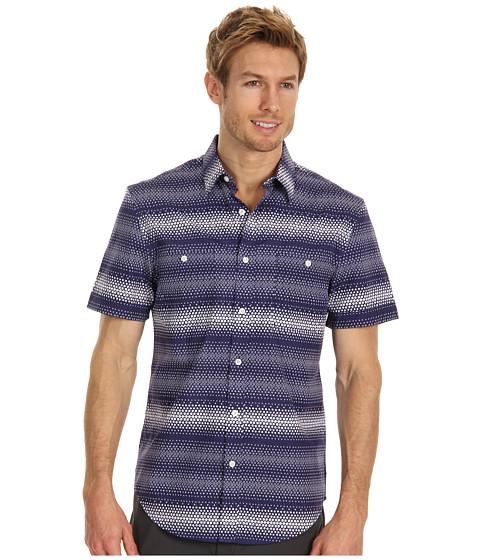 Camasi Perry Ellis - Regular Fit Ombre Square Horizontal S/S Shirt - Amalfi Blue
