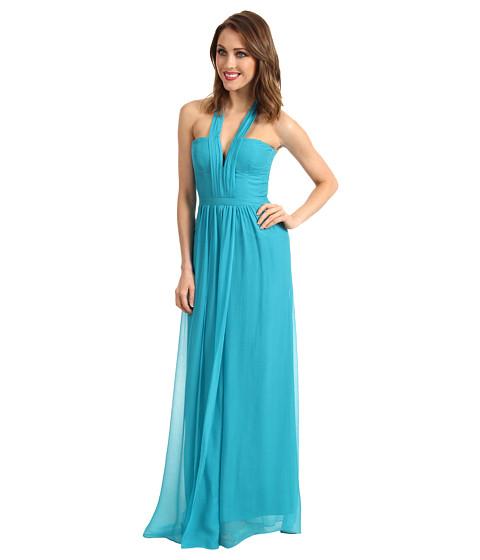 Rochii BCBGMAXAZRIA - Starr Deep V-Neck Silk Halter Dress - Blue Jade