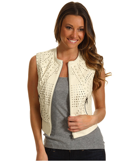 Geci Catherine Malandrino - Perforated Leather Vest w/ Studs - Ivory