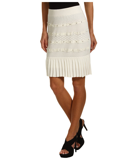 Fuste Catherine Malandrino - Pleated Mini Skirt w/ Nails - Ivory
