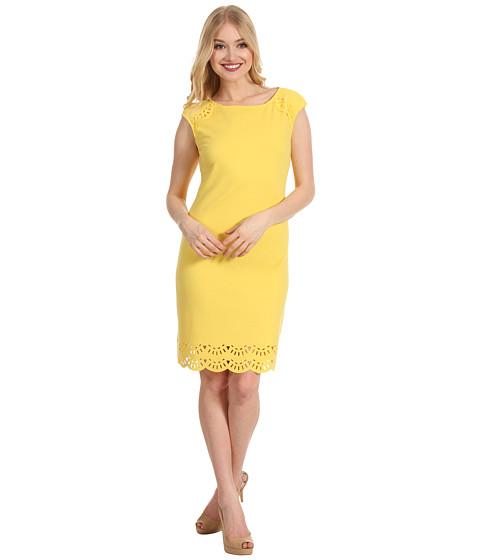 Rochii Donna Morgan - Cleo - Laser Cut Ponte Dress - Canary Punch