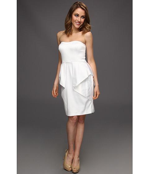 Rochii Jessica Simpson - Strapless Sweetheart Dress w/ Folded Peplum Skirt - White