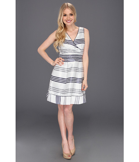 Rochii Jessica Simpson - Striped Full Skirt Sleeveless Dress - Navy Blue/White