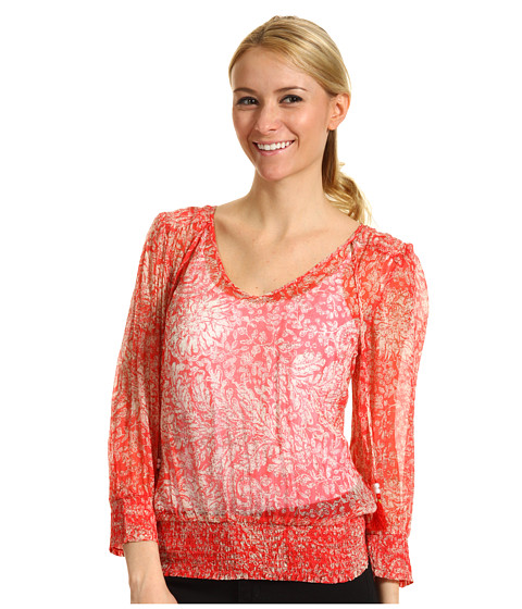 Bluze Lucky Brand - Palisades Knotted Flowers Smocked Top - Red Chili Pepper Multi