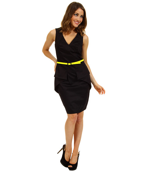 Rochii Vince Camuto - Fitted Dress w/ Peplum Detail - Black