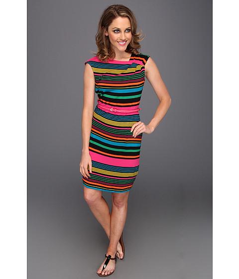 Rochii Calvin Klein - Rayon Printed Cap Sleeve Belted Dress - Multi