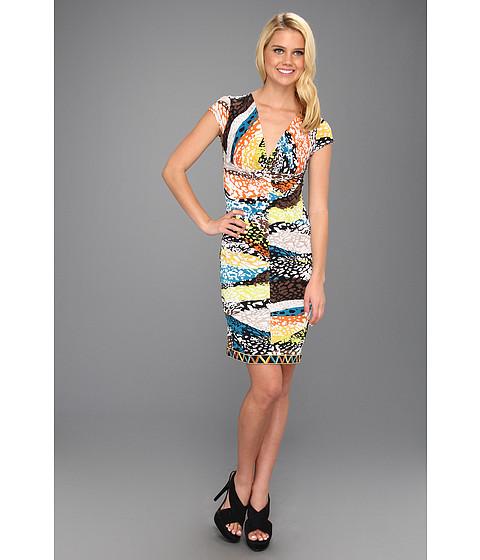 Rochii BCBGMAXAZRIA - Laila Twist Front Wrap Dress - Burnt Orange Multi