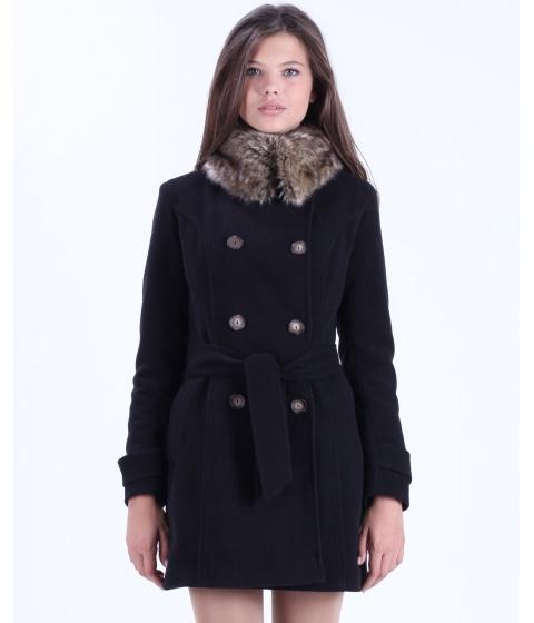 Jachete Be You - Palton negru cu guler din blana ecologica - Multicolor