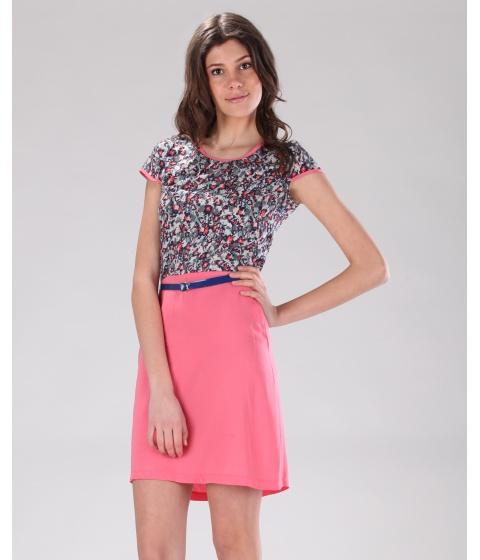 Rochii Be You - Rochie roz cu flori - Multicolor