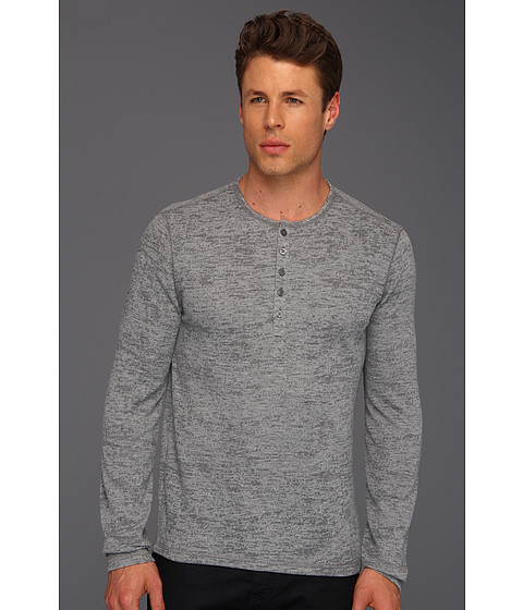 Bluze John Varvatos - L/S Burnout Henley - Light Grey Heather