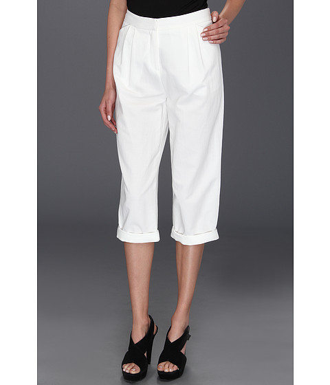 Pantaloni Halston Heritage - Relaxed Fit Cropped Pant - White
