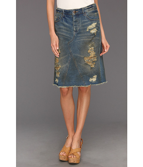 Fuste Free People - Super Destroyed Denim Skirt in Garage Wash - Garage Wash