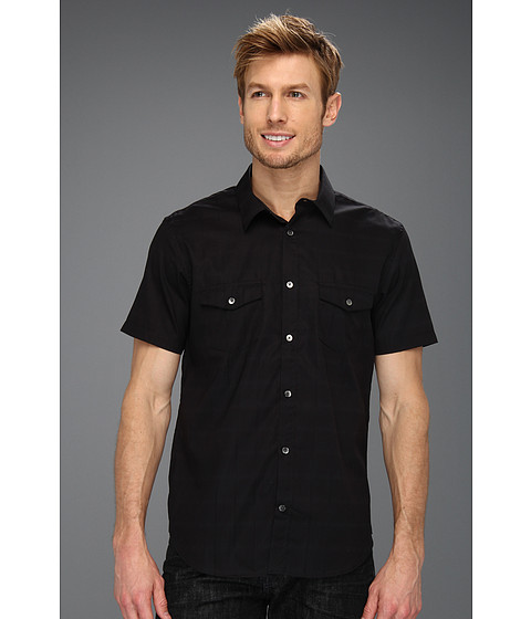 Tricouri Calvin Klein - S/S Piece Dyed Grid Check Dobby Woven Shirt - Black