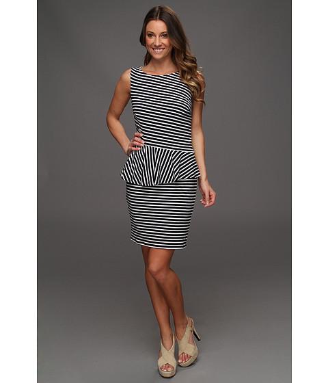 Rochii Laundry by Shelli Segal - Sleeveless Stripe Peplum Dress - Optic White multi -141