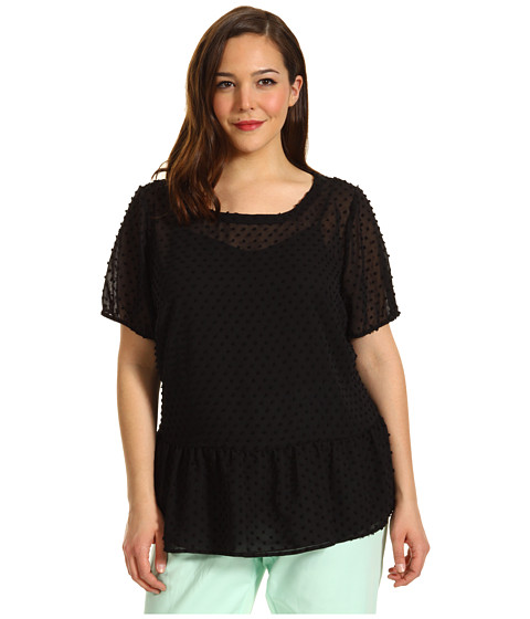 Bluze Vince Camuto - Plus Size Elastic Sleeve Swiss Dot Blouse - Rich Black