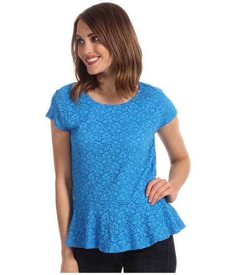 Bluze Vince Camuto - Cap Sleeve Peplum Lace Top - Malibu Blue