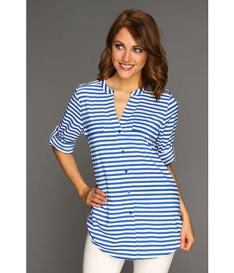 Bluze Calvin Klein - Striped Crew Roll Sleeve Blouse - Ultramarine/Ivory