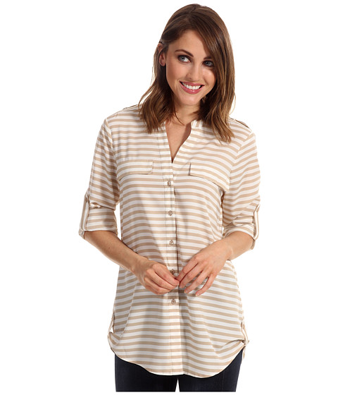 Tricouri Calvin Klein - Striped Crew Roll Sleeve Blouse - Latte/Ivry