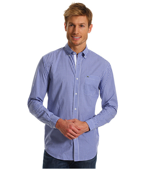 Bluze Lacoste - L/S Slim Fit Poplin Gingham Check Woven Shirt - Obscure Blue/White