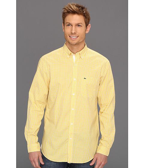 Bluze Lacoste - L/S Slim Fit Poplin Gingham Check Woven Shirt - Starfruit Yellow/White