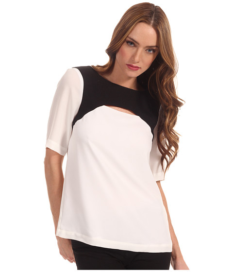 Bluze Tibi - Short Sleeve Cut Out Top with Basketweave Combo - White/Black Multi